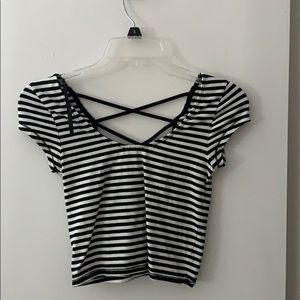 Forever 21 Laced back striped crop top